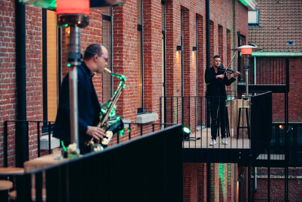 muzikanten op lanceringsevent Rijkswachtkazerne Antwerpen